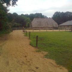 pad van zand gemaakt vanuit het bos naar de paardenbak.